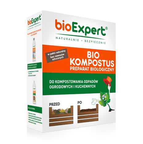 Opakowanie 500 g. BIO Kompostus. Biologiczny środek do rozkładu kompostu. Zawiera szczepy bakterii do kompostowania. Przyspiesza i stymuluje tlenowe procesy rozkładu materii organicznej. Marka bioExpert.