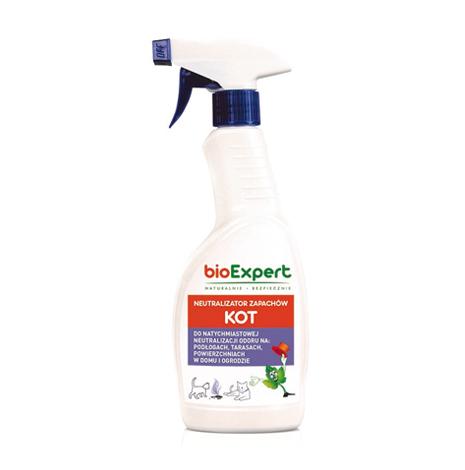 Opakowanie 500 ml. Neutralizator zapachów KOT.Preparat do usuwania zapachu kociego moczu, kału lub wymiocin w pomieszczeniach zamkniętych i w ogrodzie. Neutralizuje amoniak i inne zapachy organiczne. Marka bioExpert