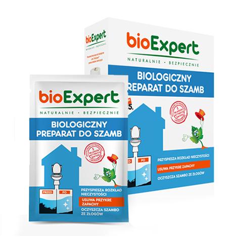 Opakowanie 1 kg i saszetki 25 g biologicznego preparatu do szamb. bioExpert