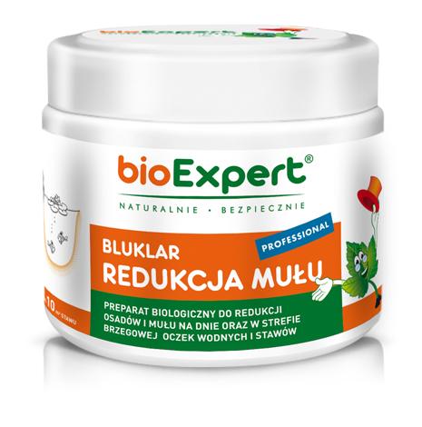 Opakowanie 150 g. Bluklar PROFFESIONAL Redukcja mułu. Biologiczny preparat, zawierający mikroorganizmy i enzymy, do czyszczenia oczek wodnych i stawów z mułu na dnie, w strefie kąpielowej i brzegowej. Marka bioExpert.