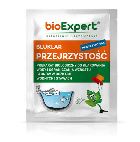 Opakowanie 13 g. Bluklar PROFESSIONA Przejrzystość. Preparat biologiczny zawierający mikroorganizmy i enzymy, przeznaczony do klarowania wody w oczku wodnym lub stawie, zarówno przydomowym jak i w parkach. Marka bioExpert.